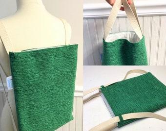 Convertible Back Pack, Convertible Backpack, Convertible Tote, Green Back Pack, Fabric backpack, handmade backpack, green back pack,