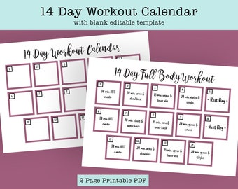14 Day Fitness Calendar with Blank Fitness Planner Template, Print at Home Instant Download