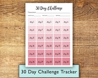 30 Day Challenge Tracker in Ombre Dusty Rose, Print at Home Instant Download