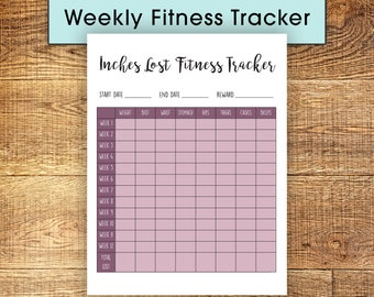 12 Week Fitness Tracker; Inches & Weight Loss Calendar in Two Tone Mauve, Print at Home Instant Download