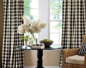 Buffalo Check CurtainsFarmhouse Style Decor Jet Black Checkered Curtains Bedroom French Country Ruffle Pillow Cover