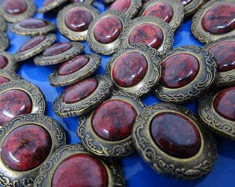 Vtg Candy Red Rhinestone w// Metal  Border Shank Buttons 17mm Lot of 6 B118-10