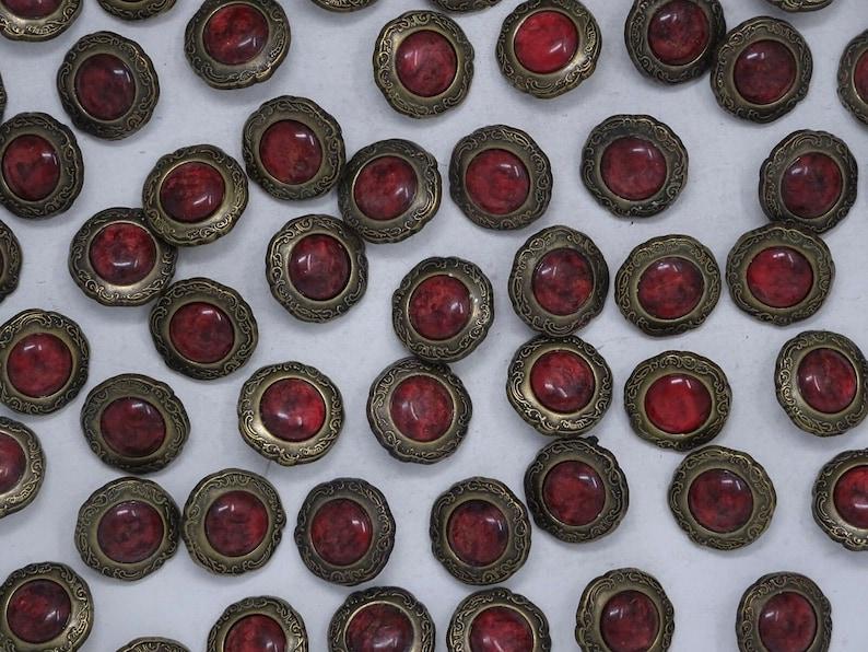 Vtg Marbled Lipstick Red Black Rhinestone Shank Button 19mm Lot of 6 C337-4