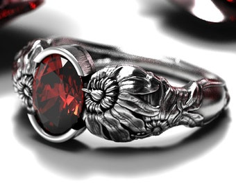 Valentine/'s Rose Bloom US National Flower Floral Symbol of Love and Passion Romantic Stackable Ring #925 Sterling Silver #Azaggi R0383S