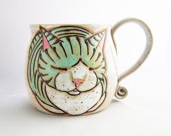 Cat Mug, pottery mug, great Christmas Day gift, cat loaf mug, handmade , custom name mugs, personalized mug, name mug, personalized gift,