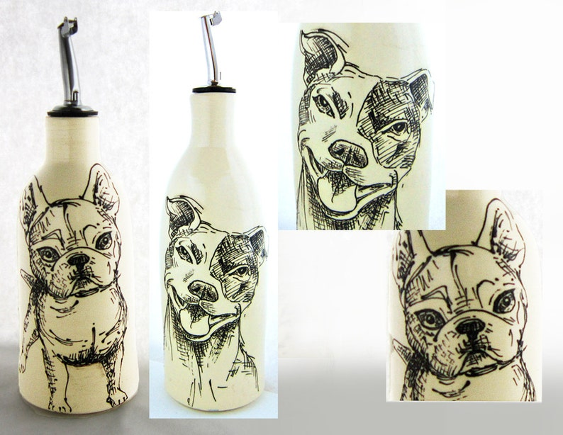 French Bulldog of Pitbull Oil Dispenser approx 15 oz microwave safe dishwasher can customize great Birthday gift dog art