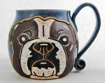 Bulldog Mug, Christmas Day gift, great gift idea, if bulldog is another color-contact me, holds approx 13 oz, dishwasher and microwave safe