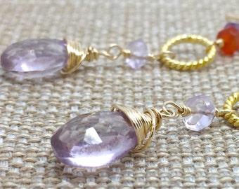 Earrings Quartz plum amethyst carnelian gemstone dangle 14k gold fill vermeil handmade red orange purple long genuine