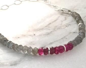bracelet gemstone topaz tourmaline labradorite flash rondelles sterling silver gray grey pink red simple genuine chain natural layering