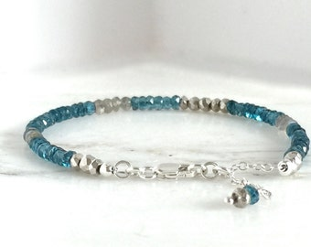 London Blue quartz gemstone bracelet Labradorite Pyrite layering jewelry genuine handmade simple natural sterling silver