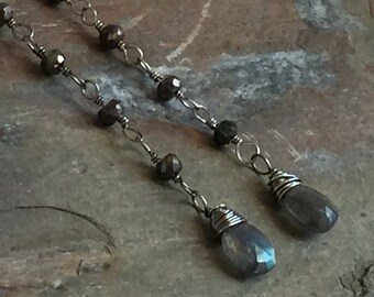 Labradorite earrings sterling silver oxidized long drop dangle handmade spinel blue flash genuine gemstones chain natural wrapped jewelry