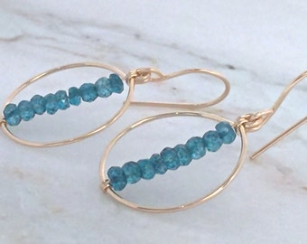 London Blue Quartz earrings December birthstone blue gold hoops dangle rondelle genuine handmade simple natural green stacked minimal