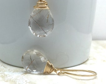 Earrings golden rutilated quartz gemstone large 14k gold fill unique large gemstones clarity cut color graduation interesting genuine