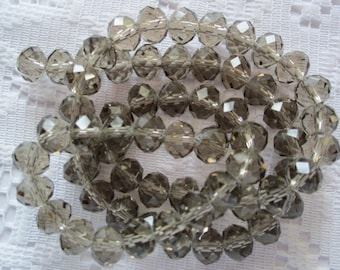 24  Smokey Taupe Grey Faceted Rondelle Crystal Beads  8mm x 6mm