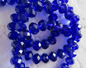 25  Dark Cobalt Blue Faceted Rondelle Crystal Beads  4mm x 6mm