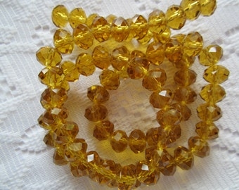 24  Golden Medium Amber Faceted Rondelle Crystal Beads  8mm x 6mm