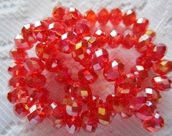 25  Light Siam Red AB Faceted Rondelle Crystal Beads  6mm x 4mm