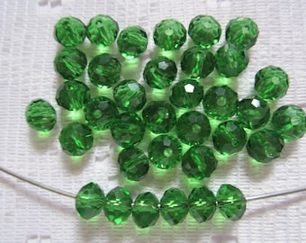 24  Christmas Green Faceted Rondelle Crystal Beads   8mm x 6mm
