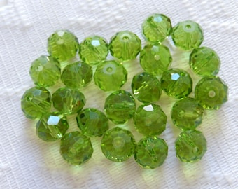 24  Olivine Green Faceted Rondelle Crystal Beads  8mm x 6mm