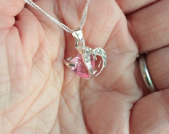 Pink double heart crystal pendant necklace