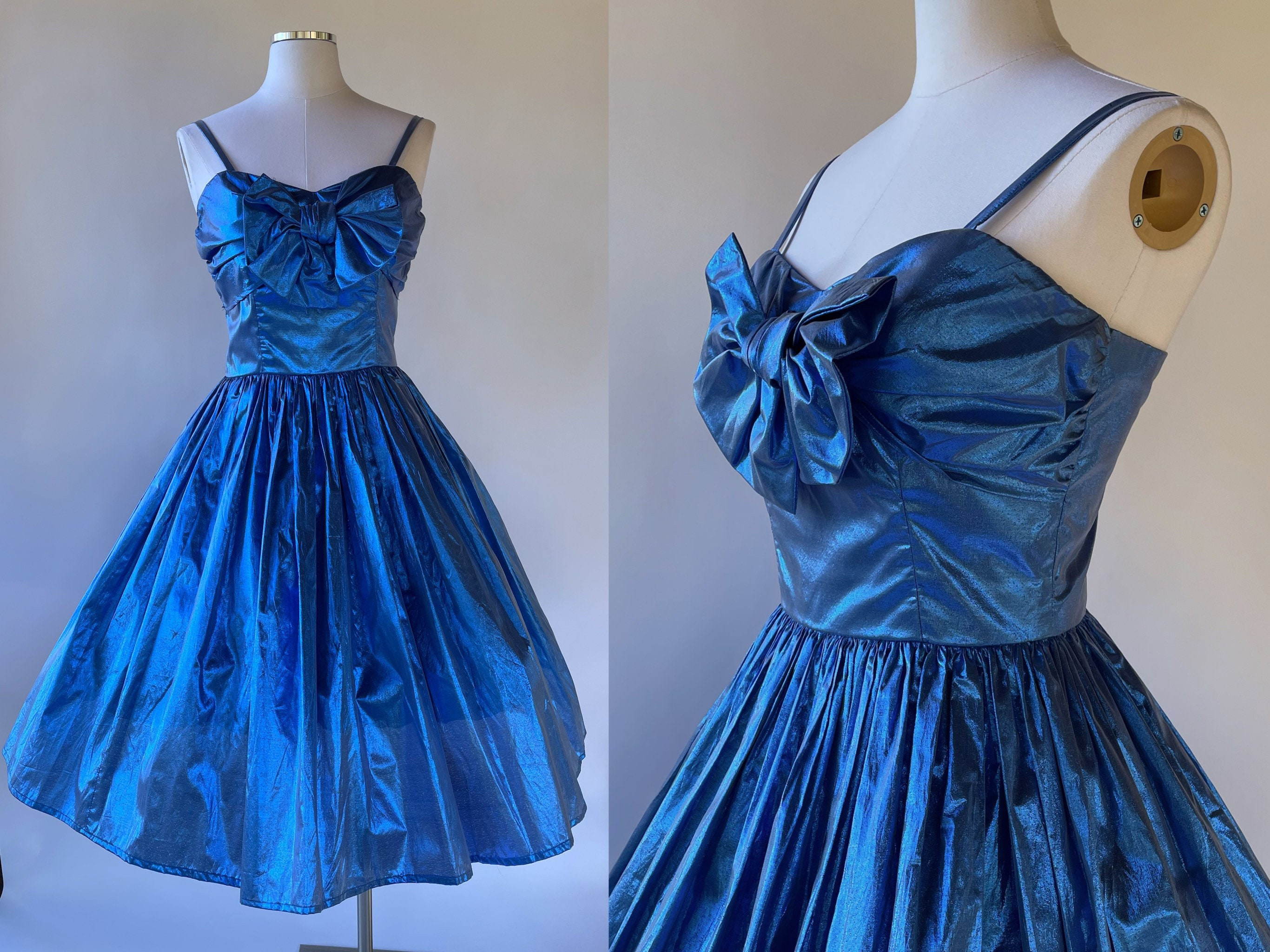 80s Dresses | Casual to Party Dresses Vintage 1980s Shiny Blue Metallic Bubble Dress W Spaghetti Strap, Large BowHandmade, Prom, Formal, Party, Cocktail, Romy  Michelle $149.99 AT vintagedancer.com