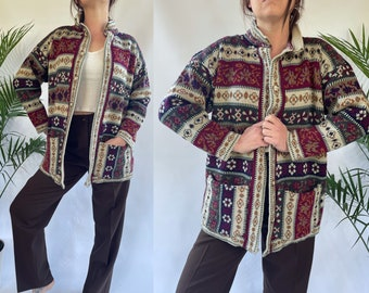 Medium 1990's Knit Sweater by 'SML Sport LTD c. 1994' Acrylic Knit Striped Abstract Cardigan / Button Up / Goblin Core / Fall Print / Pocket