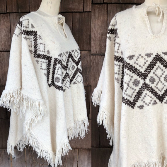 Vintage 1970s Mexican Blanket Poncho