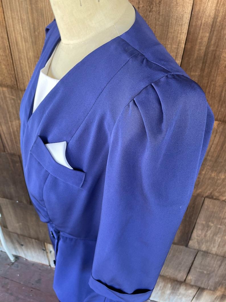 Vintage Large 1980/'s /'Liz Petites/' Navy Blue Peplum Business Wiggle Dress Sailor  Flight Attendant  Rockabilly