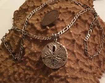 sterling   silver sand dollar pendant charm necklace