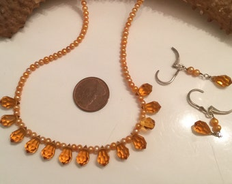 sterling silver set bead necklace and earrings set Sterling silver clasp