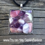 Purple Amethyst Crystal & Pink Agate stone pendant handmade metaphysical magick hippie boho bohemian pagan wicca new age energy jewelry