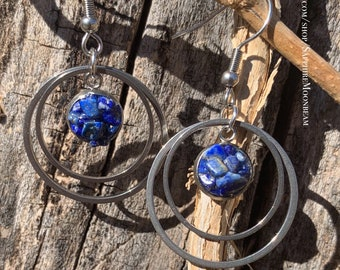 Dangly Green Diopside round crystal earrings metaphysical magick jewelry made by Sapphire Moonbeam
