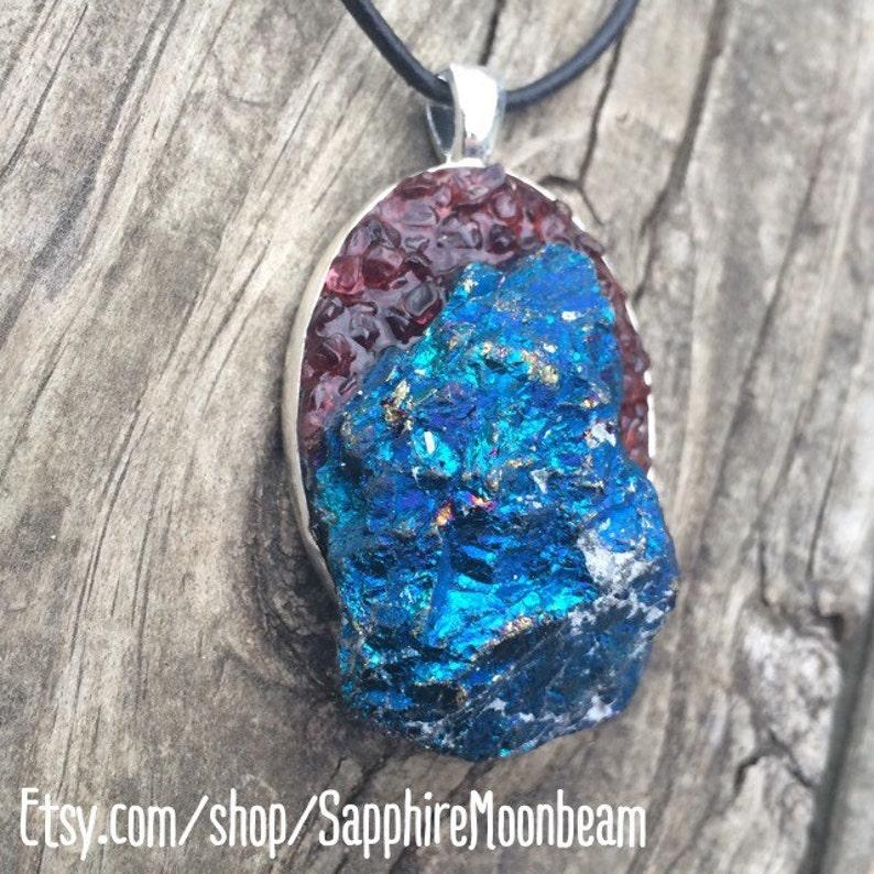 Blue Peacock Ore stone /& Garnet gemstone handmade pendant metaphysical magick gypsy hippie chic pagan boho bohemain new age jewelry