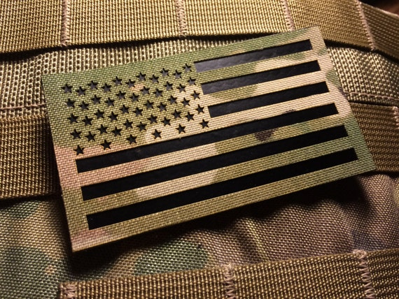 AUTHENTIC US MILITARY IR INFRARED REFLECTIVE REV GREEN US FLAG HOOK /& LOOP PATCH