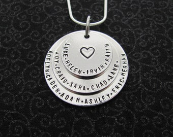 Personalized Family Necklace, 3 Disc, Big Family, Names, Lots of Names