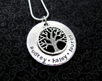 Personalized Tree of Life, Family Tree Necklace with Names and Tree Charm