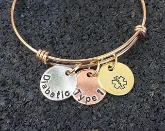 Medical ID bracelet, Medical Alert, Adjustable Bangle, Silver, Gold, Rose Gold, Copper