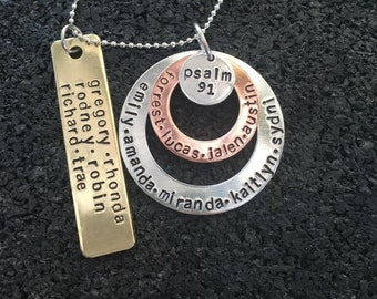 Personalized BIG Family Necklace, Names, Lots of Names, Dates, Initials,