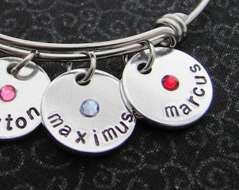 """Personalized birthstone disc, 5/8"""", name"""