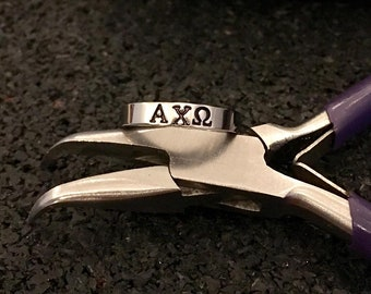 Sorority RING with Greek Letters, Skinny Ring, Pick Size