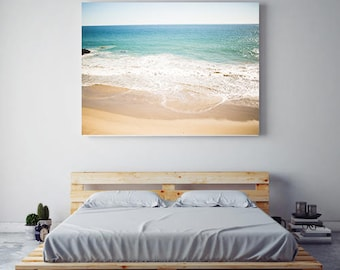beach photography, canvas gallery wrap, large ocean canvas, ocean canvas wall art, beach decor, malibu, california, large wall art, aqua