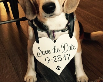 Heart Shaped Save the Date sign | Dog Photo Prop | Engagement Announcement Pictures