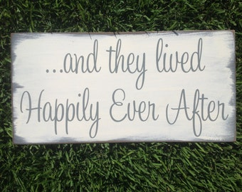 and they lived Happily Ever After   Shabby Chic Disney Wedding Sign   Ring Bearer sign   Flower girl sign   Bridal Shower Gift Decor