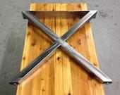 Metal Table Legs - X Style - Brushed Nickel Finish - Adjustable Leveling Feet