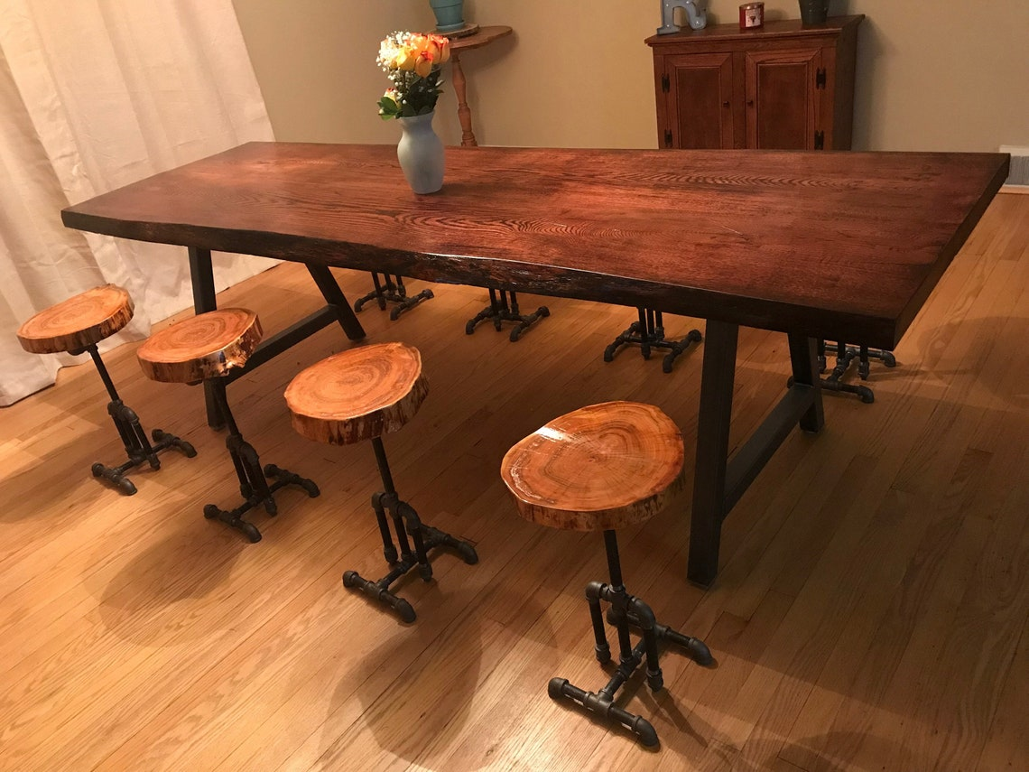 Metal Table Legs - A Frame Style - Set of 2 - Adjustable Leveling Feet
