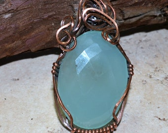 Artisan Faceted Chalcedony Wire Wrap Pendant
