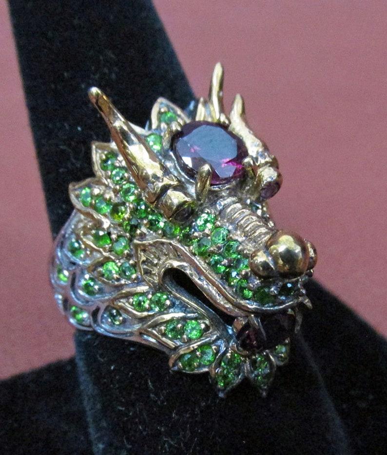 Chrome Diopside and Ruby Gem Naga Dragon Ring Voodoo Estate Rhodolite Garnet Aunt Nadiene/'s Thai Vermeil A Seance Reading Room Find