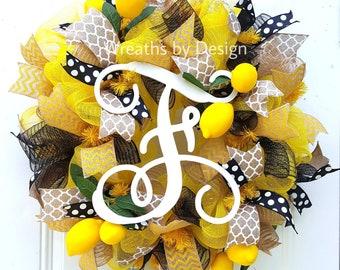 Lemon wreath-summer wreath-initial wreath-mesh wreath-wreaths-front door wreath
