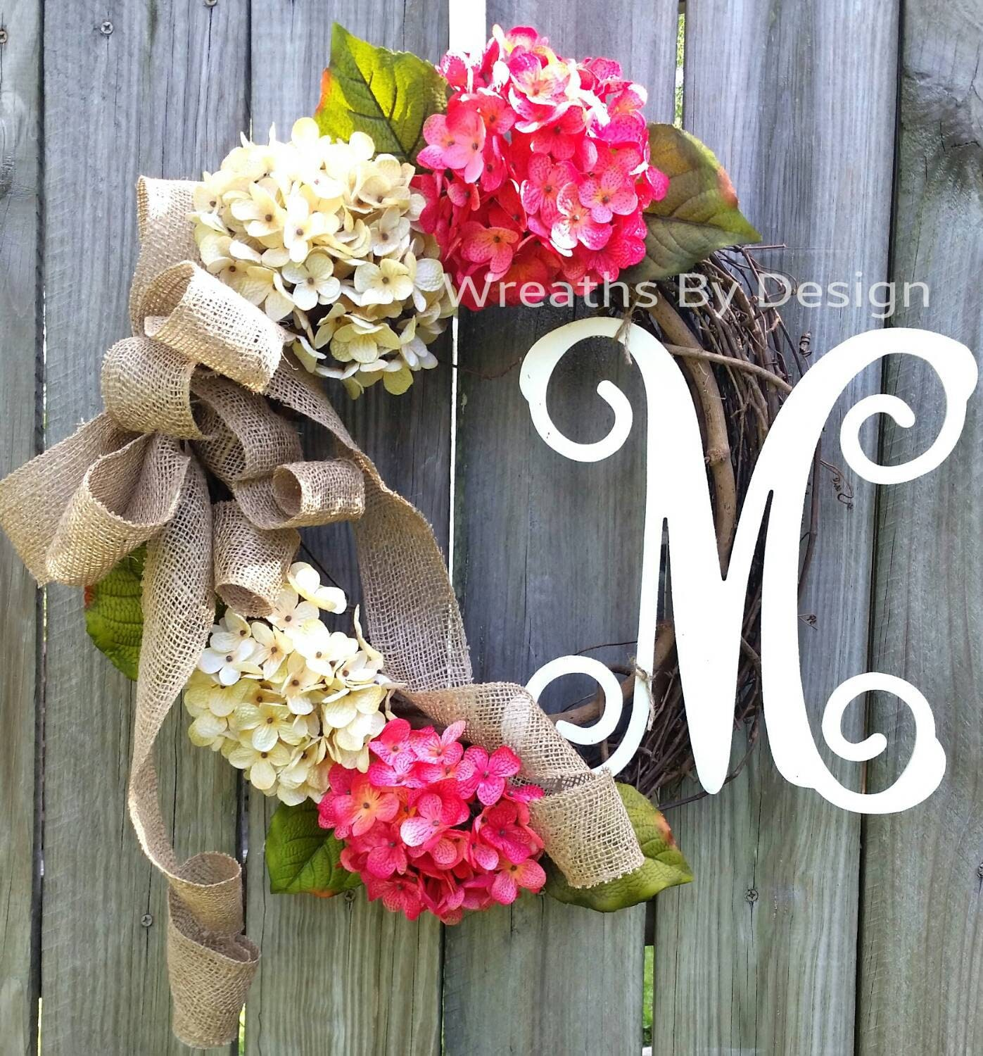 Hydrangea Wreath Front Door Wreath Monogram Wreath Etsy