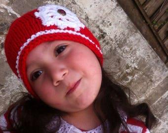 Christmas Girl hat, toddler girl hat, red hat, Handmade Hat, Red hat, warm hat, winter hat